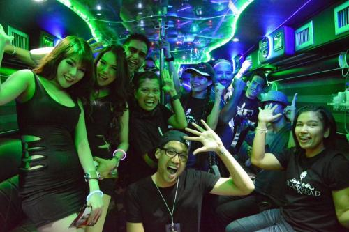 crazy bachelor party in disco bus